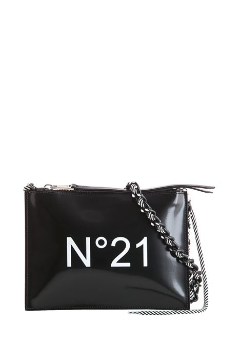 BLACK CLUTCH WITH LOGO AND BRAIDED CHAIN WITH ROPE N°21 | Clutches | N05207NT0018N0001