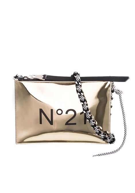 GOLD CLUTCH WITH LOGO AND BRAIDED CHAIN WITH ROPE N°21 | Clutches | N05207NT0019N0002