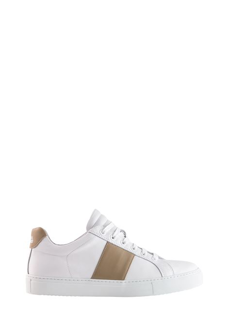 EDITION 4 SNEAKER IN WHITE NAPPA WITH BEIGE BAND NATIONALSTANDARD | Sneakers | M0419S008
