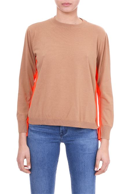BEIGE SWEATER WITH FLUO STRIPES Nude | Sweaters | 1101512134