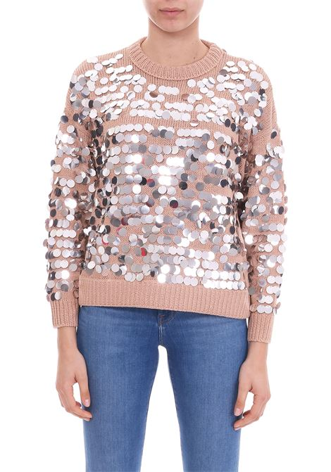 COTTON SWEATER WITH SILVER SEQUINS Nude | Jersey | 1101523134