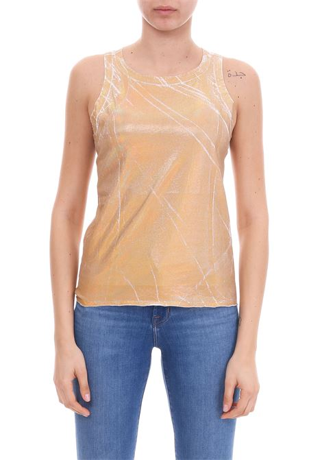 TOP IN COTONE COLOR ORO METALLIZZATO Nude | Top | 110358226