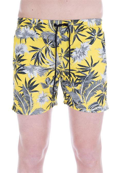 YELLOW SWIM SHORT WITH ALL-OVER PRINT PAOLO PECORA | Swimsuits | 6005T556S301
