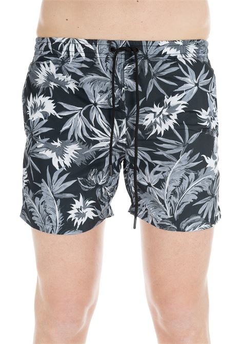 BLACK SWIM SHORT WITH ALL-OVER PRINT PAOLO PECORA | Swimsuits | 6005T556S901