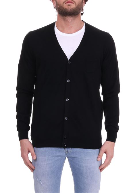 BLACK V-NECK COTTON CARDIGAN PAOLO PECORA | Cardigans | A005F1009000
