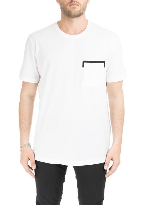 WHITE T-SHIRT WITH CONTRAST POCKET PAOLO PECORA | T-shirt | F04141691101