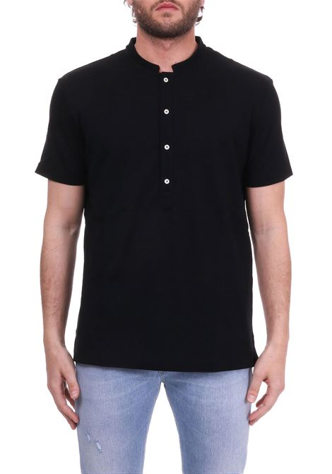 BLACK T-SHIRT WITH COREAN COLLAR PAOLO PECORA | T-shirt | F06141389000