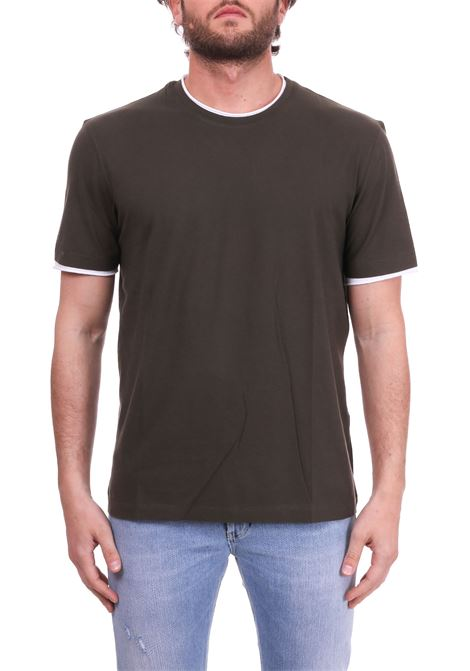 GREEN T-SHIRT WITH WHITE PROFILES PAOLO PECORA | T-shirt | F17141695719