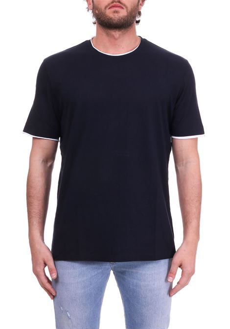 BLUE T-SHIRT WITH WHITE PROFILES PAOLO PECORA | T-shirt | F17141696685