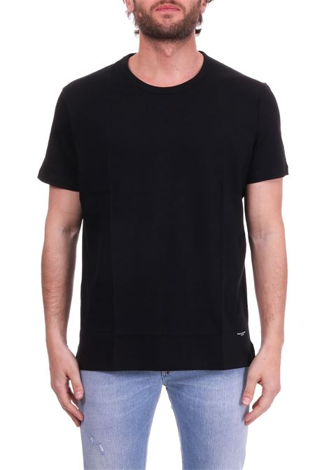 BLACK CREWNECK T-SHIRT WITH LOGO  PAOLO PECORA | T-shirt | F21163209000