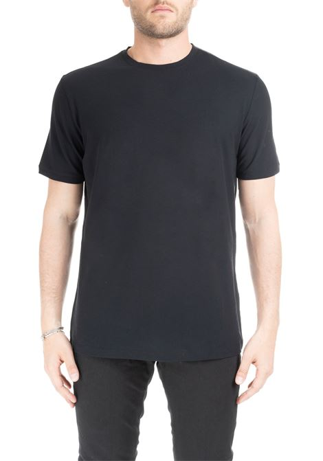 BLACK BASIC T-SHIRT IN PURE COTTON PAOLO PECORA | T-shirt | F30141699000