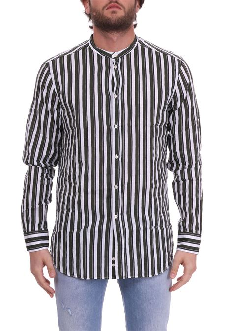 LINEN SHIRT WITH WHITE AND GREEN STRIPE PAOLO PECORA | Shirts | G1513700R502