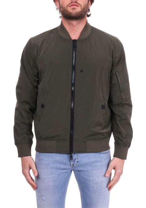 ARMY GREEN BOMBER JACKET IN TECHNICAL FABRIC PAOLO PECORA | Jackets | O021T5025719