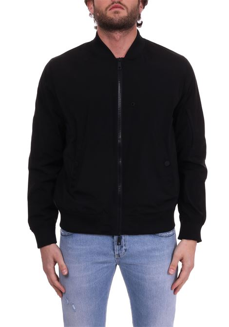 BLACK BOMBER JACKET IN TECHNICAL FABRIC PAOLO PECORA | Jackets | O021T5029000