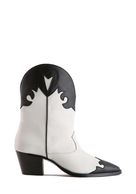 COWBOY BOOTS IN WHITE AND BLACK LEATHER PARIS TEXAS |  | PX144PVITELLOBIANCO/NERO