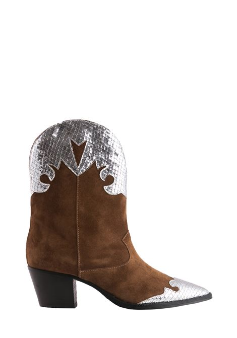 COWBOY BOOTS IN BROWN AND SILVER SUEDE PARIS TEXAS |  | PX144VELOURLAMMARRONE