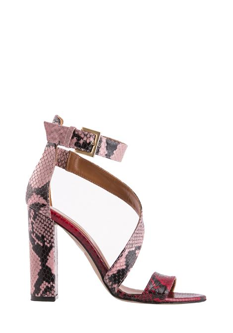 SANDALS IN YELLOW AND PINK PYTHONED LEATHER PARIS TEXAS | Sandals | PX158PMPYTHONFANTASIA