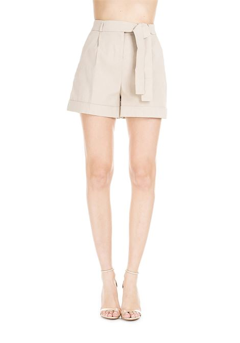 IRMA BEIGE SHORTS IN LINEN CANVAS AND VISCOUS  PINKO | Shorts | IRMA1 1B13SC7435C50