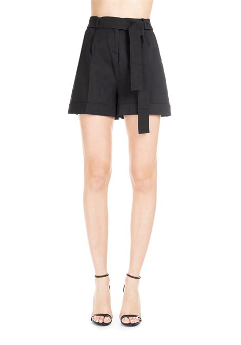IRMA BLACK SHORTS IN LINEN CANVAS AND VISCOUS  PINKO | Shorts | IRMA1 1B13SC7435Z99