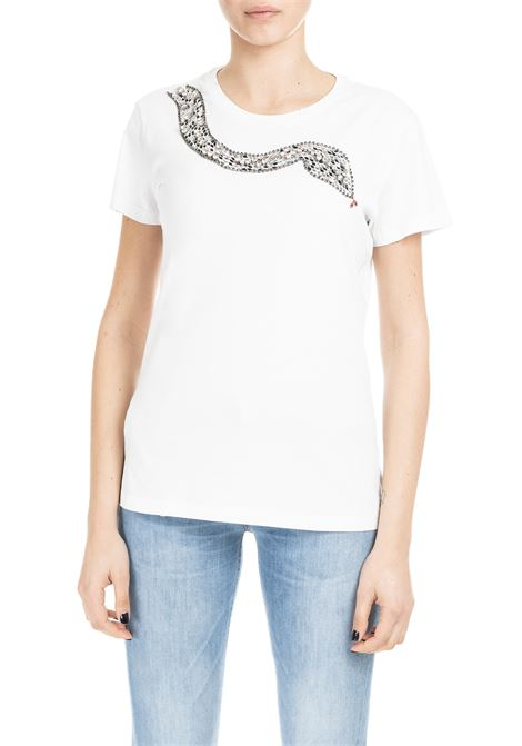 WHITE NIVES T-SHIRT WITH SNAKE EMBROIDERY PINKO | T-shirt | NIVES1B13TNZE91Z04