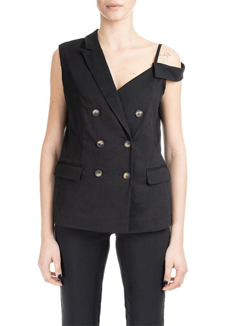 BLACK GILET JACKET PRISCA IN LINEN CANVAS PINKO | Jackets | PRISCA1B13QG7435Z99