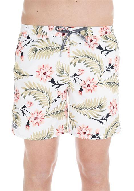 SHORTS WHITE SWIM SHORT WITH FLOWERS PATTERN SUNDEK | Swimsuits | M420BDP01WF006