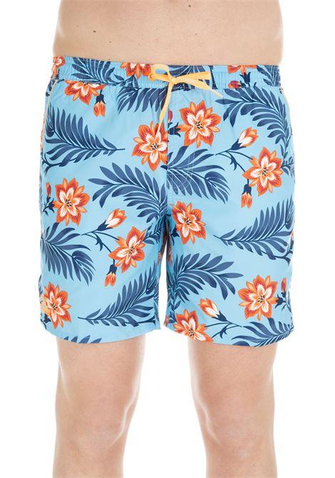 SHORTS LIGHT BLUE SWIM SHORT WITH FLOWERS PATTERN SUNDEK | Swimsuits | M420BDP01WF066