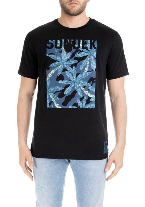 BLACK T-SHIRT WITH LOGO AND PALMS PRINT SUNDEK | T-shirt | M864TEJ78UP004