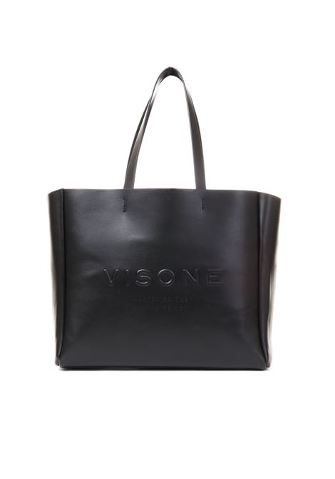 AMANDA BIG SHOPPING BAG IN BLACK LEATHER VISONE | Bags | AMANDABLACK
