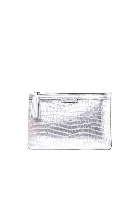 KIM CLUTCH IN SILVER LAMINATED LEATHER  VISONE | Clutches | KIMCOCCOSILVER