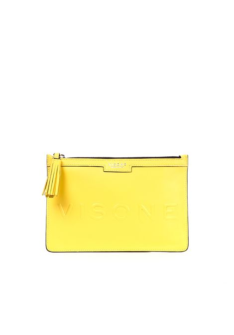 KIM CLUTCH IN YELLOW LEATHER  VISONE | Clutches | KIMLOGOYELLOW