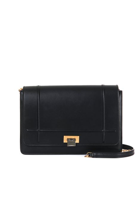 LARGE LIZZY SHOULDER BAG IN BLACK LEATHER VISONE | Bags | LIZZYBIGBLACK