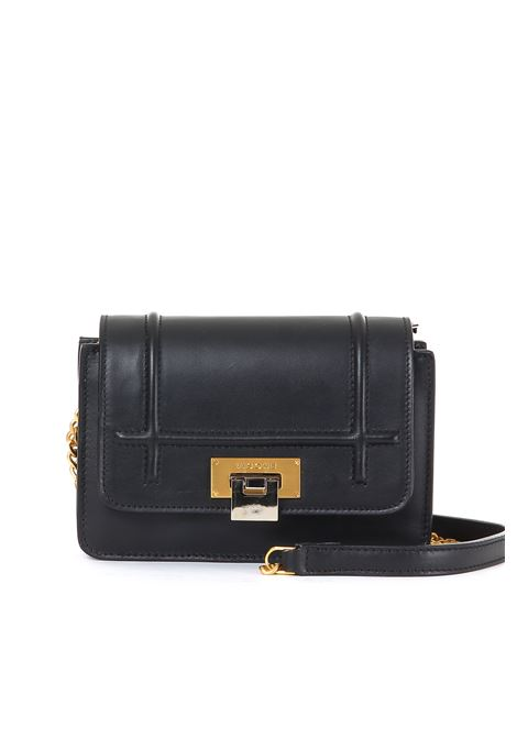 LIZZY SHOULDER BAG IN BLACK LEATHER VISONE | Bags | LIZZYSMALLBLACK