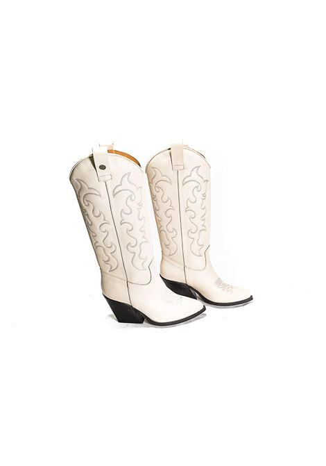 Texano in pelle color milk Gisele moire | Texano | ZOEMK