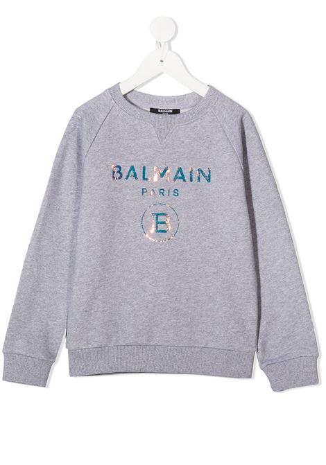 Felpa grigia BALMAIN | FELPE | 6N4530NX280915