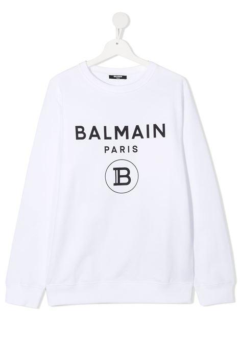 Felpa bianca BALMAIN | FELPE | 6N4670TNX300100NE