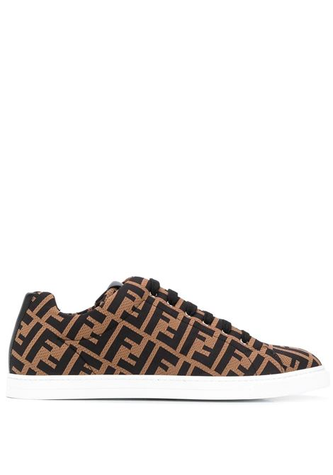 Scarpa con logo in marrone FENDI | SNEAKERS | 7E1258A7MYF0R7R