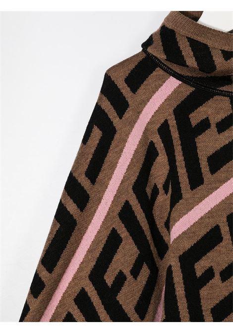 Poncho marrone/rosa FENDI | MANTELLE | JFQ039A2M4F1C5A