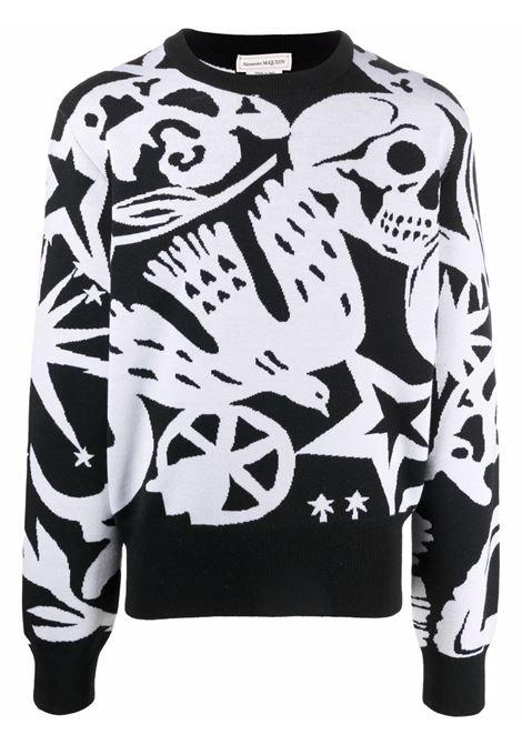 Maglione nero/bianco ALEXANDER McQUEEN | 668978Q1XCF1001