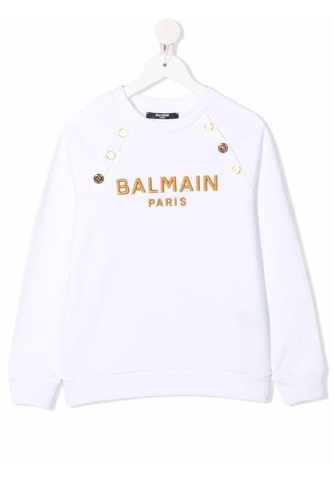White sweatshirt BALMAIN KIDS | 6P4050F0015100OR