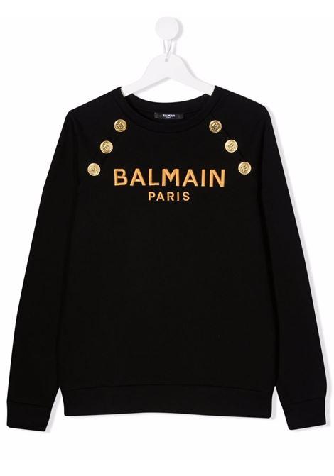 Black sweatshirt BALMAIN KIDS | 6P4050TF0015930OR