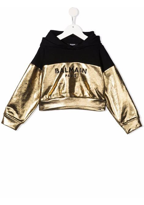 Black/gold sweatshirt BALMAIN KIDS | 6P4120B0007219