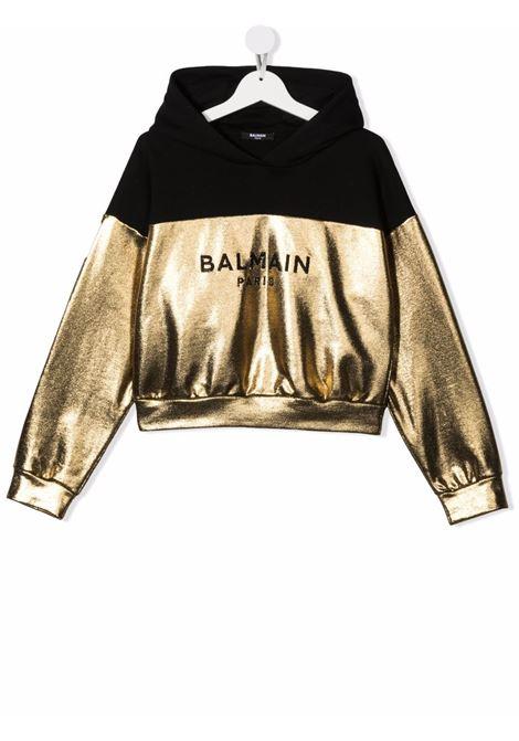 Black/gold sweatshirt BALMAIN KIDS | 6P4120TB0007219