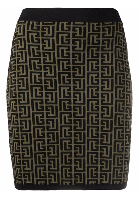 Green/black skirt BALMAIN   WF0LB005K253UEE