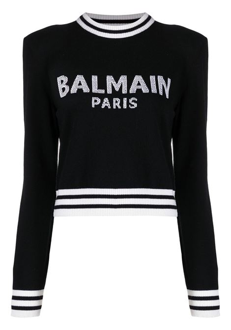 Maglione nero/bianco BALMAIN | WF1KA000K225EAB