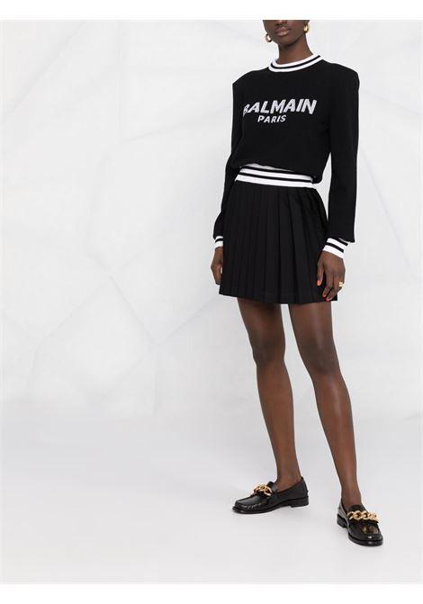 Maglione nero/bianco BALMAIN | MAGLIONE | WF1KA000K225EAB