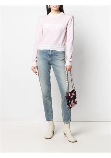 Maglione rosa/bianco BALMAIN | MAGLIONE | WF1KA000K225OCD