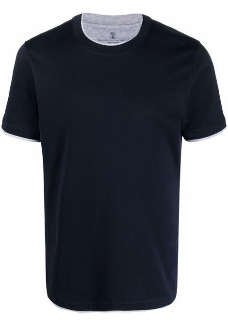 Blue t-shirt BRUNELLO CUCINELLI | MTS537427CD361