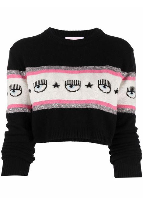 Black/white/pink jumper CHIARA FERRAGNI | 71CBFM21CMP0071M16899
