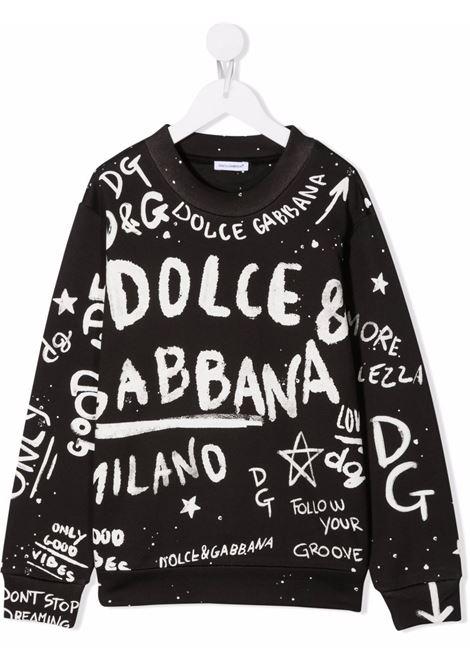 T-shirt nera/bianco DOLCE & GABBANA KIDS   L4JW0KG7BJQN0000